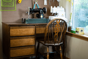 Carmen's desk with vintage singer machine
