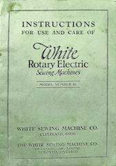 White 41 Rotary Sewing Machine Manual cover